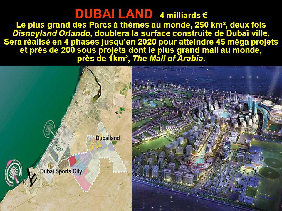 DUBAI LAND 4 milliards € Le plus grand des Parcs à thèmes au monde, 250 km², deux fois Disneyland Orlando, doublera la surface construite de Dubaï ville.