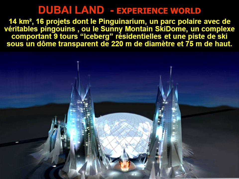 DUBAI LAND - EXPERIENCE WORLD 14 km², 16 projets dont le Pinguinarium, un parc polaire avec de véritables pingouins, ou le Sunny Montain SkiDome, un complexe comportant 9 tours Iceberg résidentielles et une piste de ski sous un dôme transparent de 220 m de diamètre et 75 m de haut.