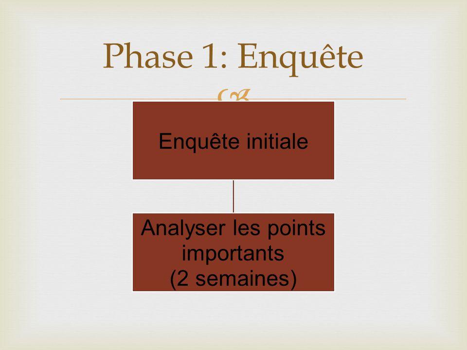  Phase 1: Enquête Enquête initiale Analyser les points importants (2 semaines)