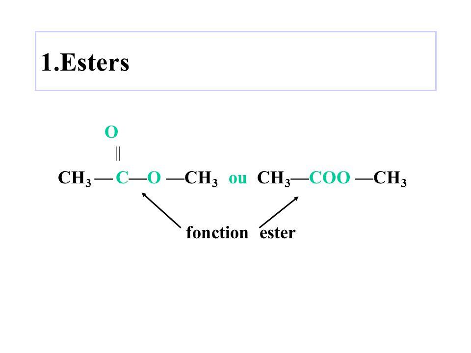 1.Esters O  CH 3 — C—O —CH 3 ou CH 3 —COO —CH 3 fonction ester