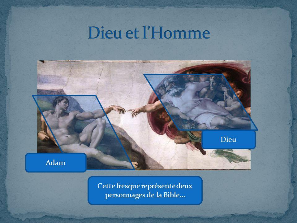 La fresque sépare les deux mondes en opposant la terre et le ciel grâce à une ligne oblique.