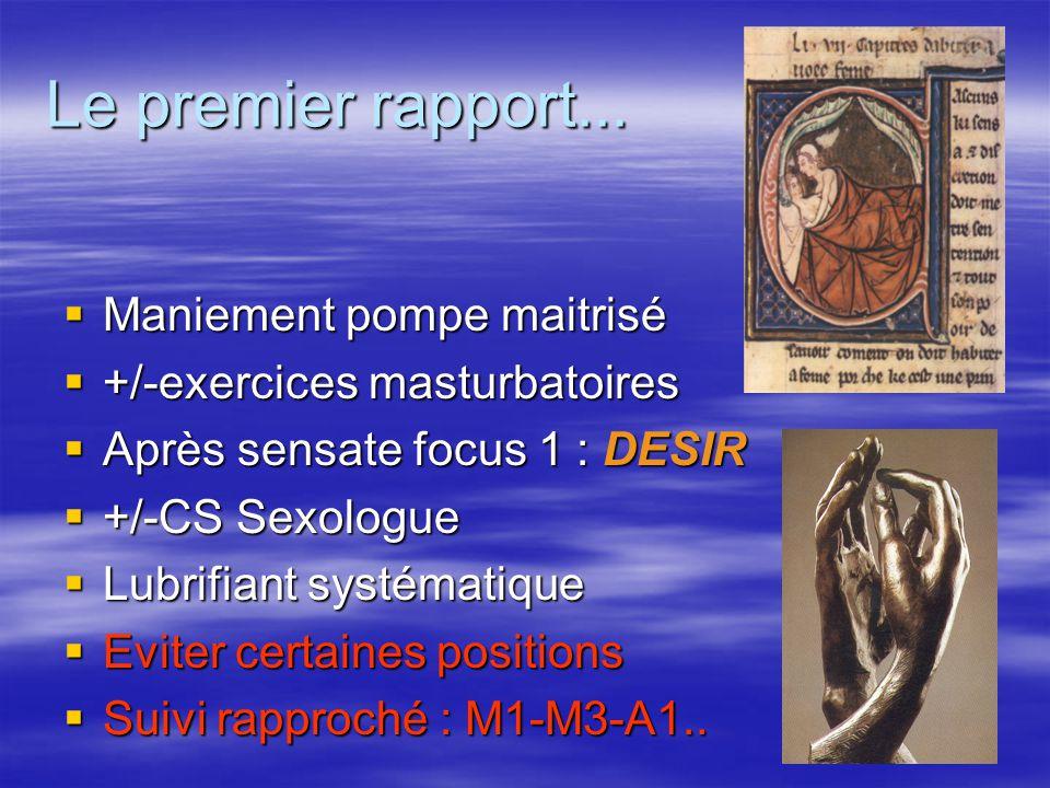 Le premier rapport...  Maniement pompe maitrisé  +/-exercices masturbatoires  Après sensate focus 1 : DESIR  +/-CS Sexologue  Lubrifiant systémat