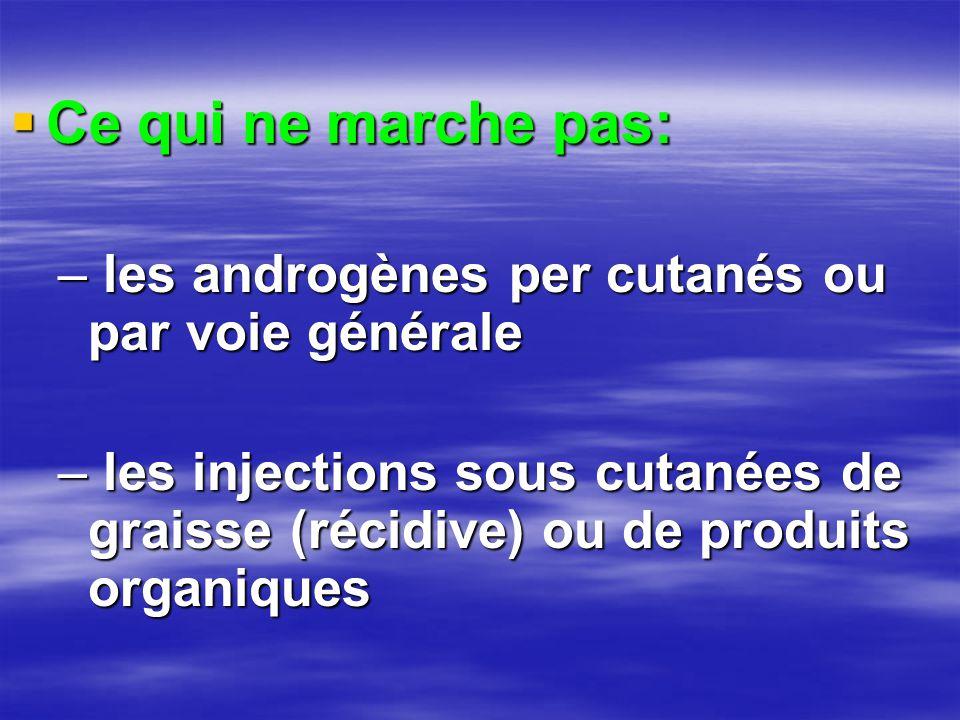  Ce qui ne marche pas: – les androgènes per cutanés ou par voie générale – les injections sous cutanées de graisse (récidive) ou de produits organiqu