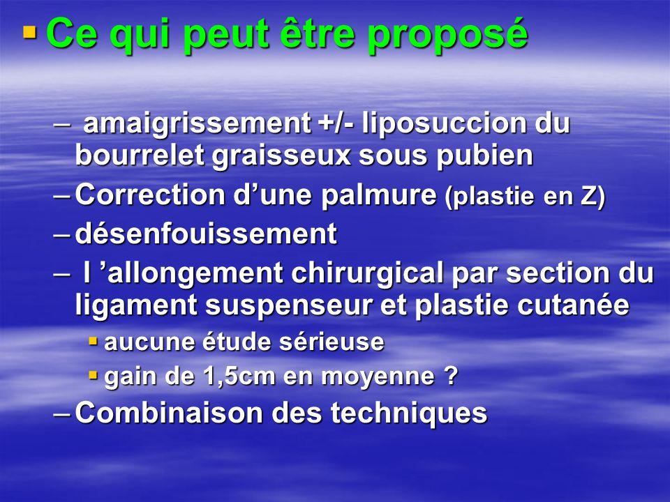 Ce qui peut être proposé – amaigrissement +/- liposuccion du bourrelet graisseux sous pubien –Correction d'une palmure (plastie en Z) –désenfouissem