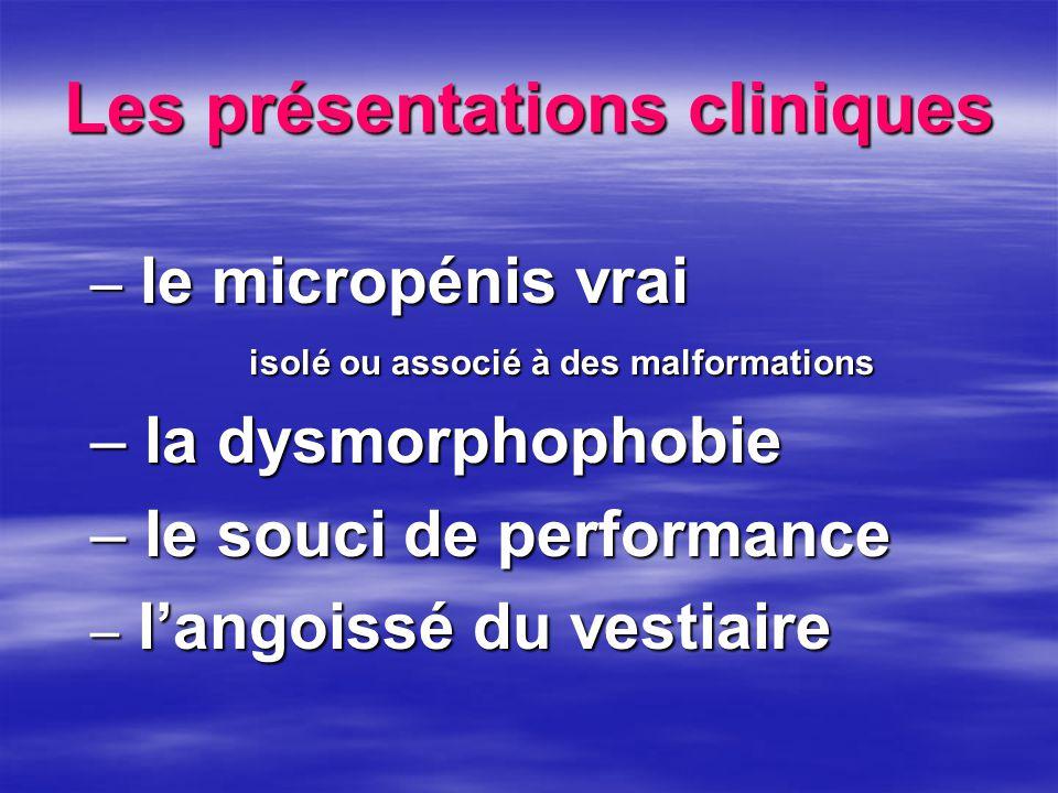 Les présentations cliniques – le micropénis vrai isolé ou associé à des malformations – la dysmorphophobie – le souci de performance – l'angoissé du v