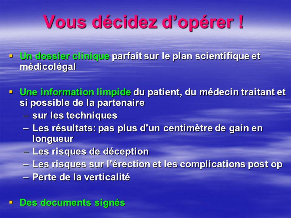 Vous décidez d'opérer !  Un dossier clinique parfait sur le plan scientifique et médicolégal  Une information limpide du patient, du médecin traitan