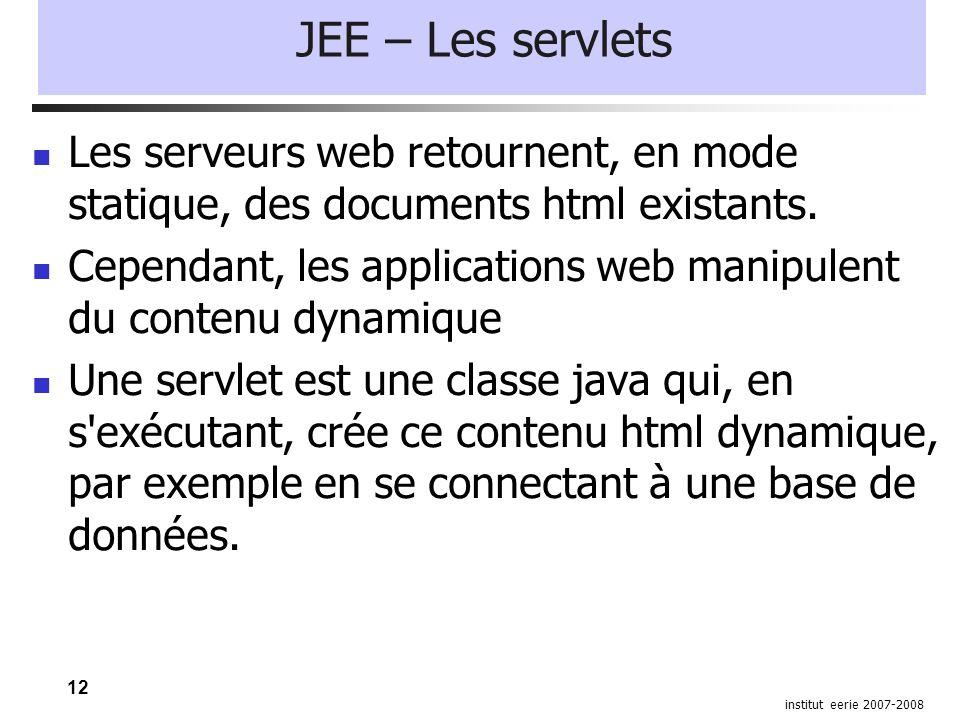 12 institut eerie 2007-2008 JEE – Les servlets Les serveurs web retournent, en mode statique, des documents html existants.