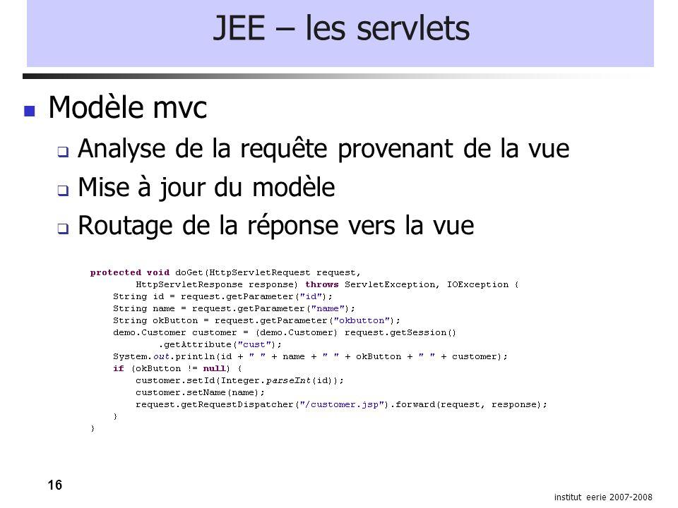 16 institut eerie 2007-2008 JEE – les servlets Modèle mvc  Analyse de la requête provenant de la vue  Mise à jour du modèle  Routage de la réponse vers la vue