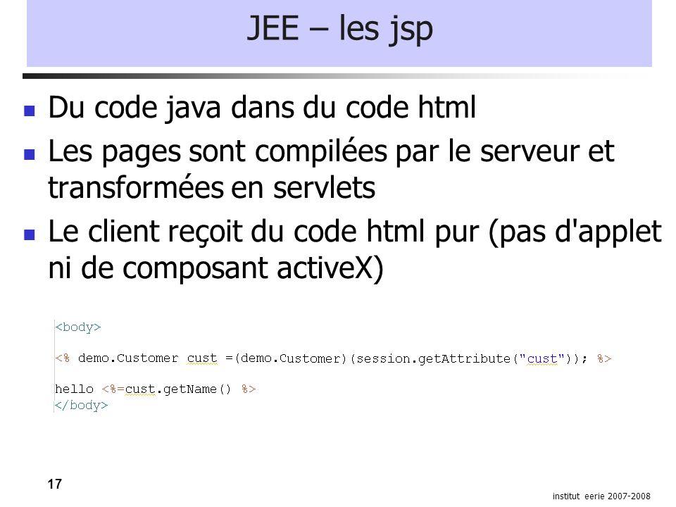 17 institut eerie 2007-2008 JEE – les jsp Du code java dans du code html Les pages sont compilées par le serveur et transformées en servlets Le client reçoit du code html pur (pas d applet ni de composant activeX)