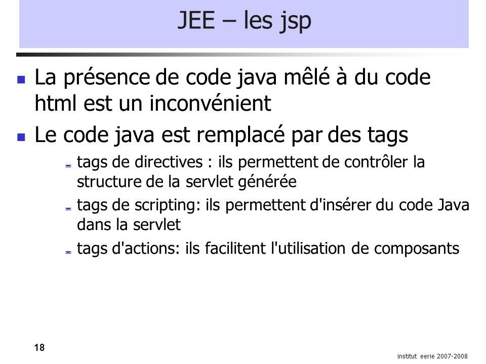 18 institut eerie 2007-2008 JEE – les jsp La présence de code java mêlé à du code html est un inconvénient Le code java est remplacé par des tags  tags de directives : ils permettent de contrôler la structure de la servlet générée  tags de scripting: ils permettent d insérer du code Java dans la servlet  tags d actions: ils facilitent l utilisation de composants