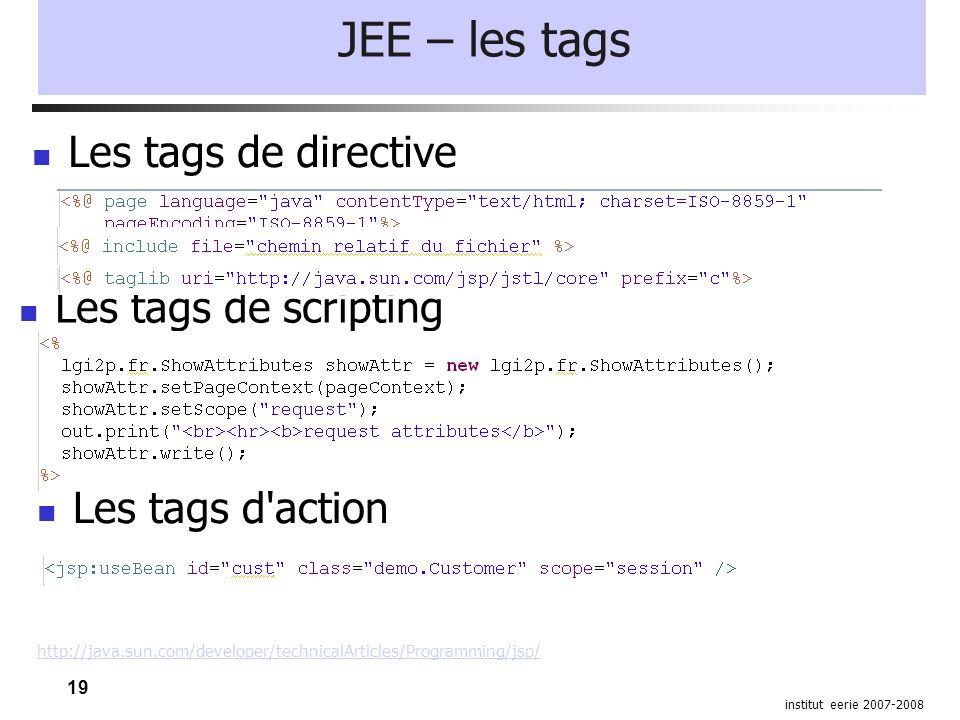 19 institut eerie 2007-2008 JEE – les tags Les tags de directive Les tags de scripting Les tags d action http://java.sun.com/developer/technicalArticles/Programming/jsp/