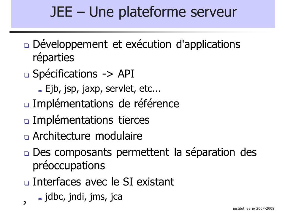 2 institut eerie 2007-2008 JEE – Une plateforme serveur  Développement et exécution d applications réparties  Spécifications -> API  Ejb, jsp, jaxp, servlet, etc...