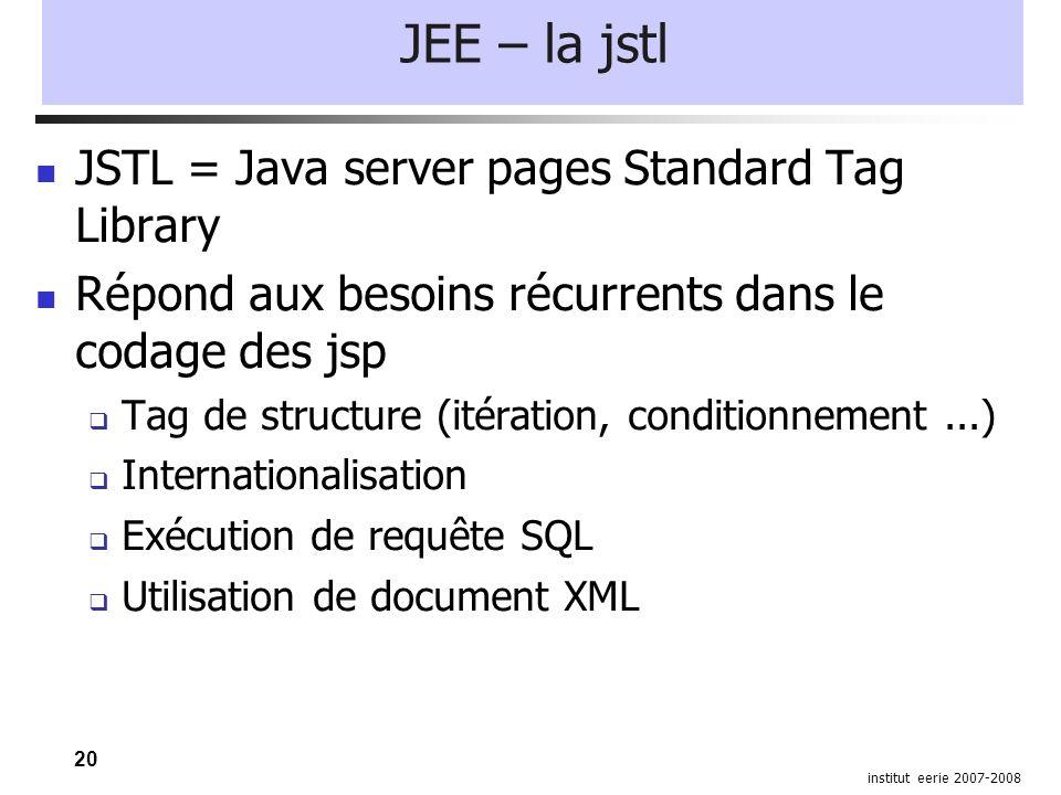 20 institut eerie 2007-2008 JEE – la jstl JSTL = Java server pages Standard Tag Library Répond aux besoins récurrents dans le codage des jsp  Tag de structure (itération, conditionnement...)  Internationalisation  Exécution de requête SQL  Utilisation de document XML