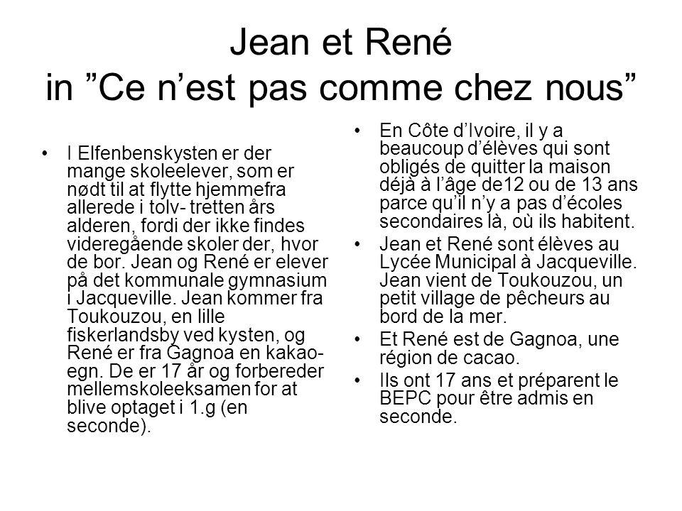 Jean et René in Ce n'est pas comme chez nous •I Elfenbenskysten er der mange skoleelever, som er nødt til at flytte hjemmefra allerede i tolv- tretten års alderen, fordi der ikke findes videregående skoler der, hvor de bor.