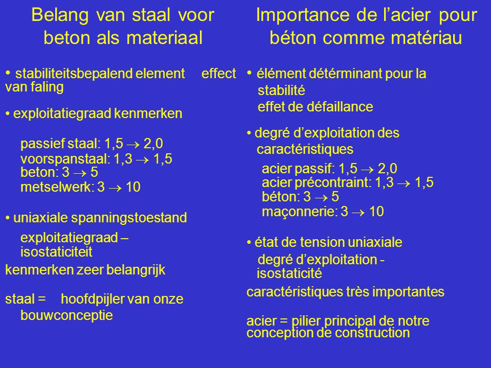 Belang van staal voor beton als materiaal • stabiliteitsbepalend element effect van faling • exploitatiegraad kenmerken passief staal: 1,5  2,0 voors