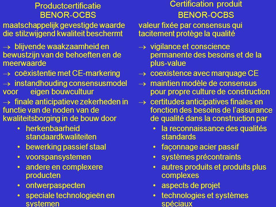 Productcertificatie BENOR-OCBS maatschappelijk gevestigde waarde die stilzwijgend kwaliteit beschermt  blijvende waakzaamheid en bewustzijn van de behoeften en de meerwaarde  coëxistentie met CE-markering  instandhouding consensusmodel vooreigen bouwcultuur  finale anticipatieve zekerheden in functie van de noden van de kwaliteitsborging in de bouw door •herkenbaarheid standaardkwaliteiten •bewerking passief staal •voorspansystemen •andere en complexere producten •ontwerpaspecten •speciale technologieën en systemen Certification produit BENOR-OCBS valeur fixée par consensus qui tacitement protège la qualité  vigilance et conscience permanente des besoins et de la plus-value  coexistence avec marquage CE  maintien modèle de consensus pour propre culture de construction  certitudes anticipatives finales en fonction des besoins de l'assurance de qualité dans la construction par •la reconnaissance des qualités standards •façonnage acier passif •systèmes précontraints •autres produits et produits plus complexes •aspects de projet •technologies et systèmes spéciaux