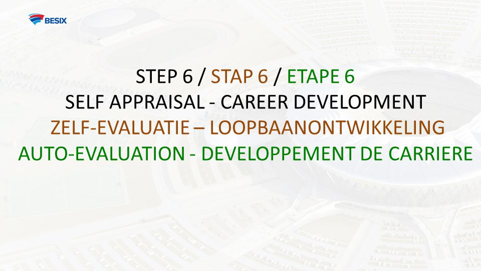 STEP 6 / STAP 6 / ETAPE 6 SELF APPRAISAL - CAREER DEVELOPMENT ZELF-EVALUATIE – LOOPBAANONTWIKKELING AUTO-EVALUATION - DEVELOPPEMENT DE CARRIERE