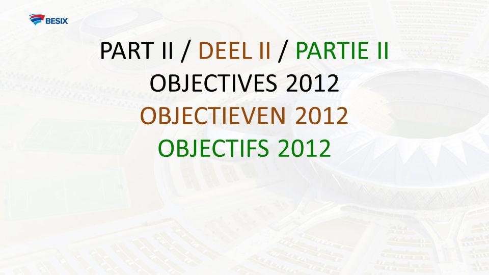 PART II / DEEL II / PARTIE II OBJECTIVES 2012 OBJECTIEVEN 2012 OBJECTIFS 2012
