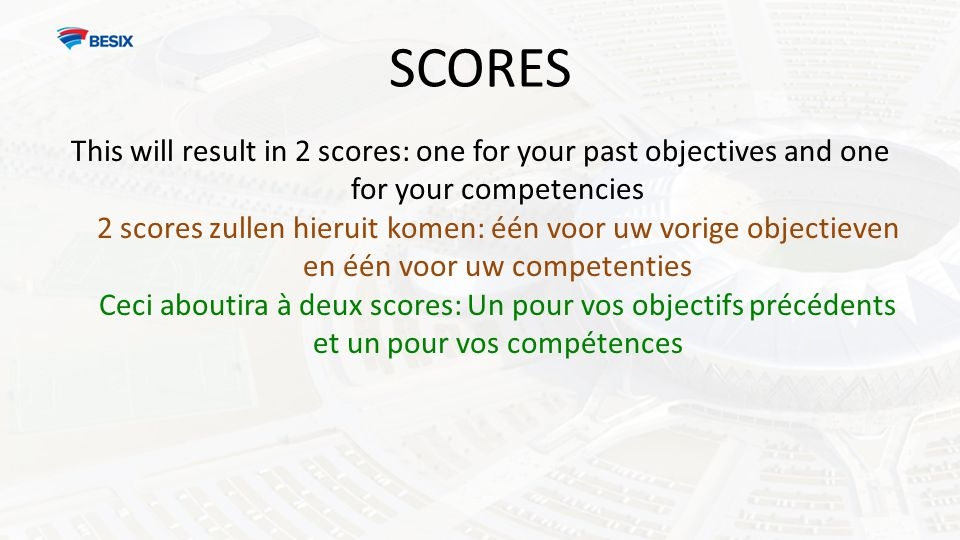 SCORES This will result in 2 scores: one for your past objectives and one for your competencies 2 scores zullen hieruit komen: één voor uw vorige obje