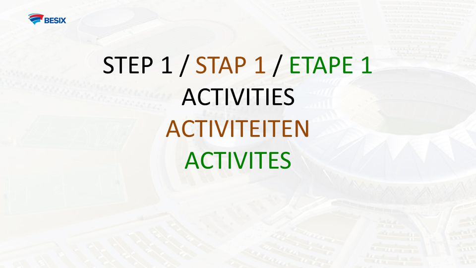 STEP 1 / STAP 1 / ETAPE 1 ACTIVITIES ACTIVITEITEN ACTIVITES