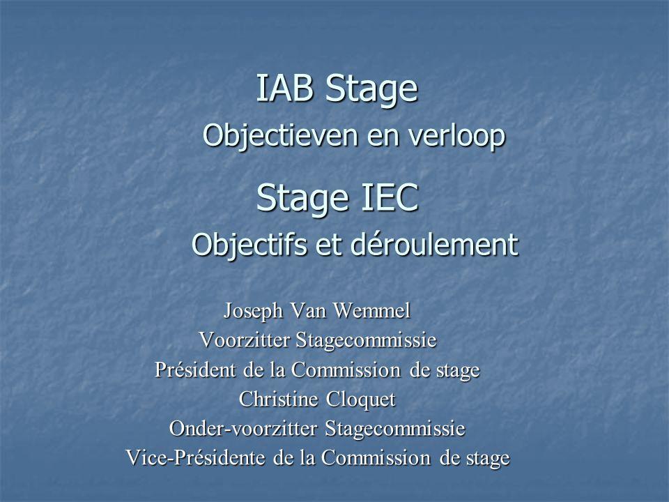 IAB Stage Objectieven en verloop Stage IEC Objectifs et déroulement Joseph Van Wemmel Voorzitter Stagecommissie Président de la Commission de stage Ch