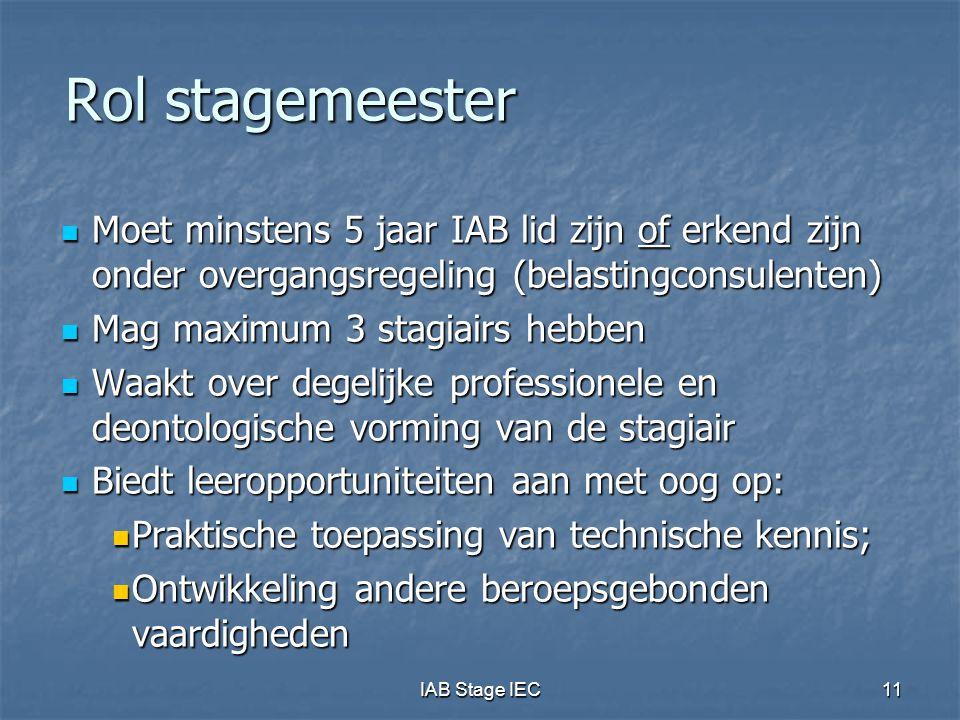 IAB Stage IEC11 Rol stagemeester  Moet minstens 5 jaar IAB lid zijn of erkend zijn onder overgangsregeling (belastingconsulenten)  Mag maximum 3 sta