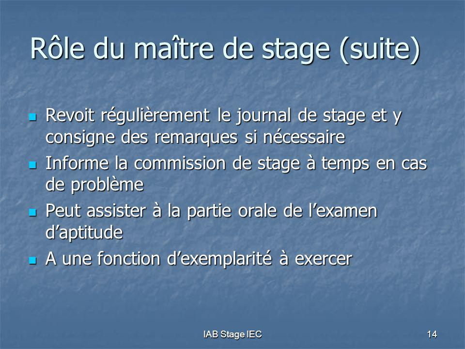 IAB Stage IEC14 Rôle du maître de stage (suite)  Revoit régulièrement le journal de stage et y consigne des remarques si nécessaire  Informe la comm