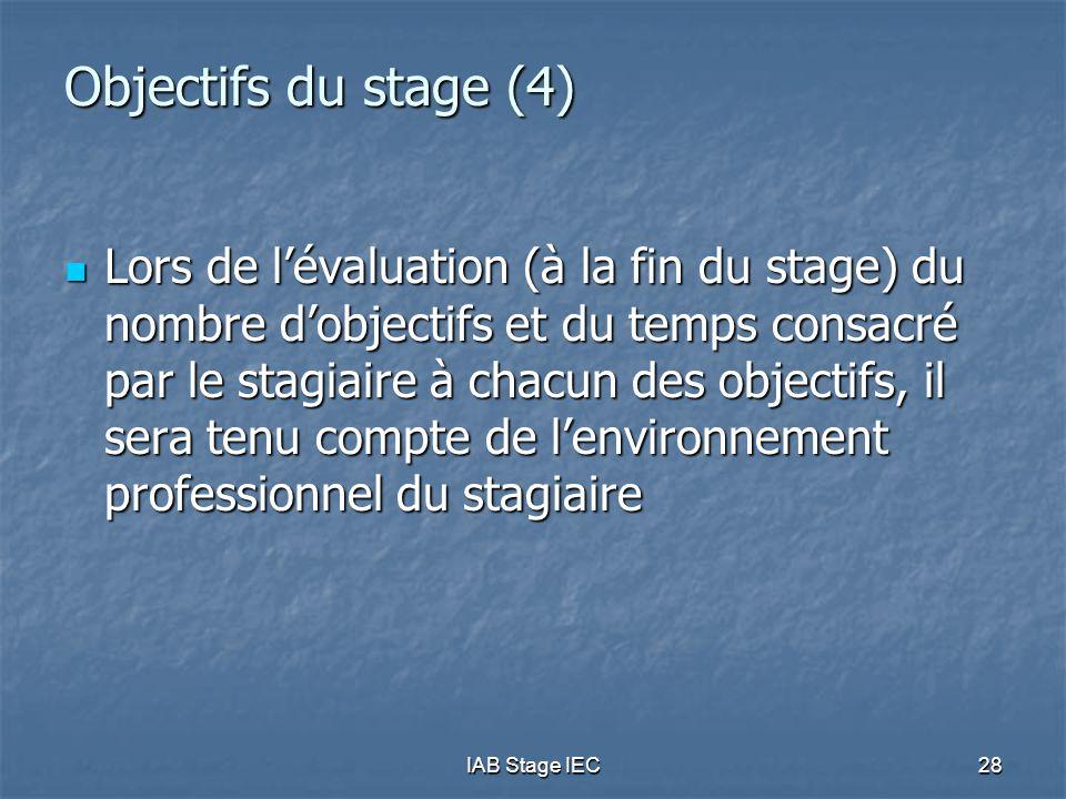 IAB Stage IEC28 Objectifs du stage (4)  Lors de l'évaluation (à la fin du stage) du nombre d'objectifs et du temps consacré par le stagiaire à chacun
