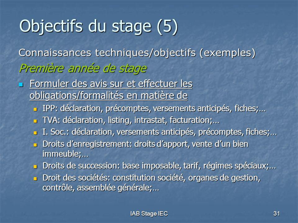IAB Stage IEC31 Objectifs du stage (5) Connaissances techniques/objectifs (exemples) Première année de stage  Formuler des avis sur et effectuer les