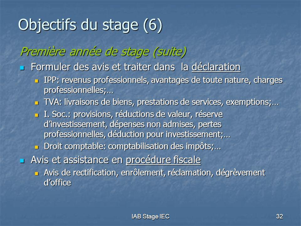 IAB Stage IEC32 Objectifs du stage (6) Première année de stage (suite)  Formuler des avis et traiter dans la déclaration  IPP: revenus professionnel
