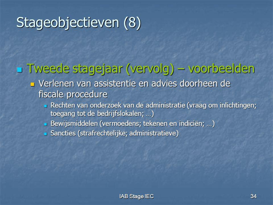 IAB Stage IEC34 Stageobjectieven (8)  Tweede stagejaar (vervolg) – voorbeelden  Verlenen van assistentie en advies doorheen de fiscale procedure  R