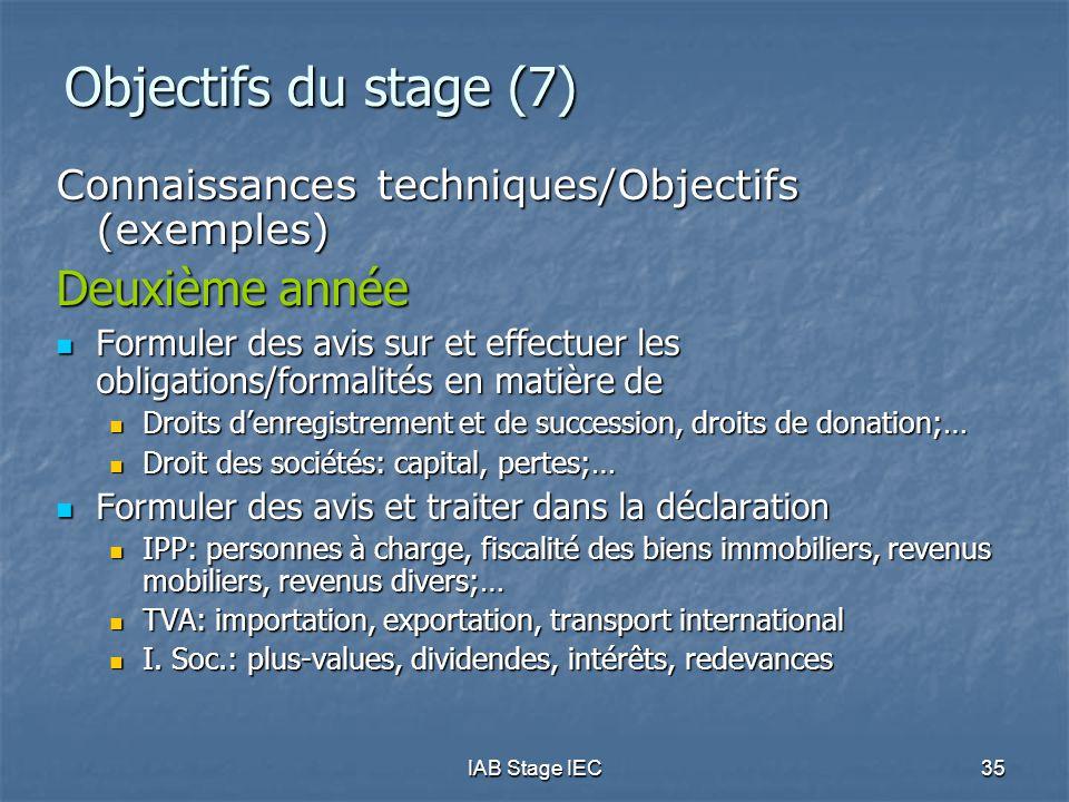 IAB Stage IEC35 Objectifs du stage (7) Connaissances techniques/Objectifs (exemples) Deuxième année  Formuler des avis sur et effectuer les obligatio