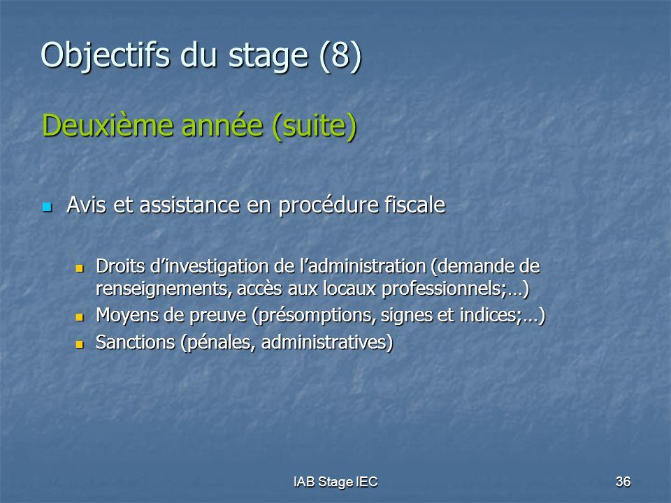 IAB Stage IEC36 Objectifs du stage (8) Deuxième année (suite)  Avis et assistance en procédure fiscale  Droits d'investigation de l'administration (