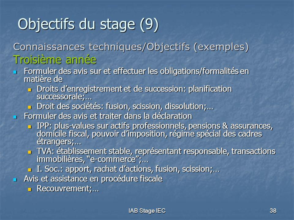 IAB Stage IEC38 Objectifs du stage (9) Connaissances techniques/Objectifs (exemples) Troisième année  Formuler des avis sur et effectuer les obligati