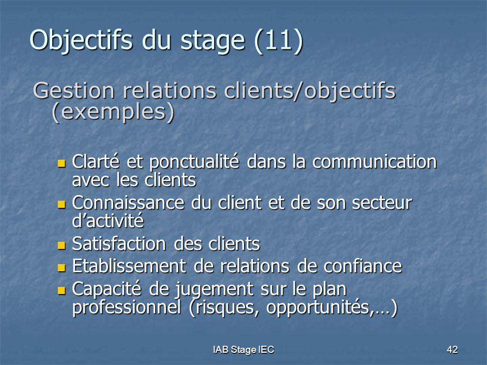 IAB Stage IEC42 Objectifs du stage (11) Gestion relations clients/objectifs (exemples)  Clarté et ponctualité dans la communication avec les clients