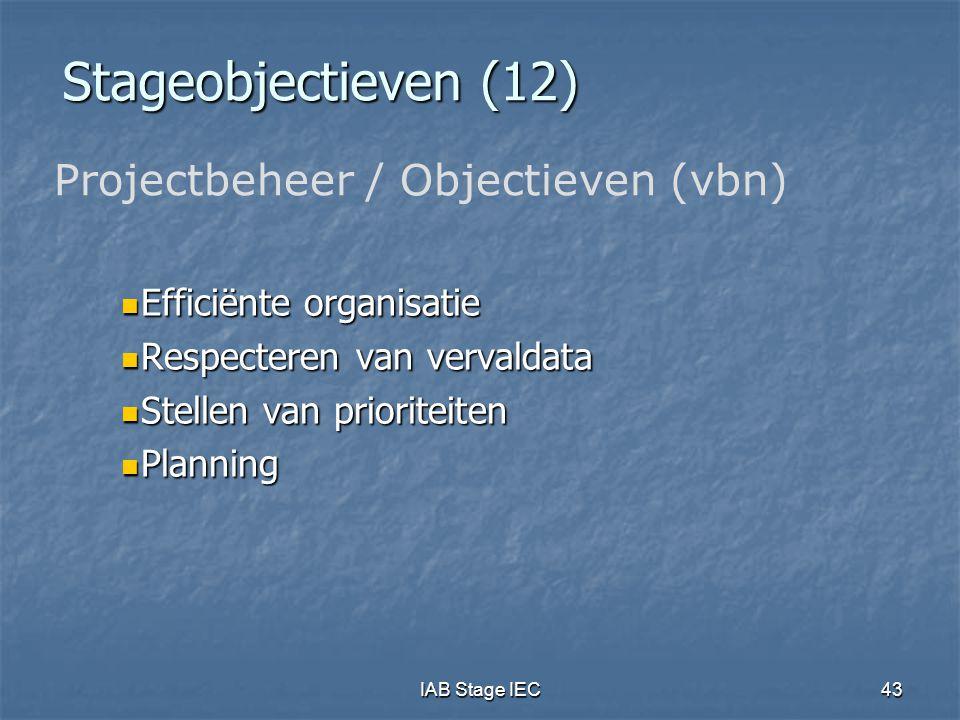 IAB Stage IEC43 Stageobjectieven (12)  Efficiënte organisatie  Respecteren van vervaldata  Stellen van prioriteiten  Planning Projectbeheer / Obje