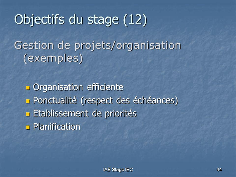 IAB Stage IEC44 Objectifs du stage (12) Gestion de projets/organisation (exemples)  Organisation efficiente  Ponctualité (respect des échéances)  E