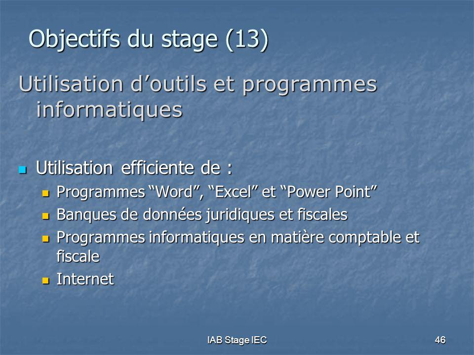 """IAB Stage IEC46 Objectifs du stage (13) Utilisation d'outils et programmes informatiques  Utilisation efficiente de :  Programmes """"Word"""", """"Excel"""" et"""