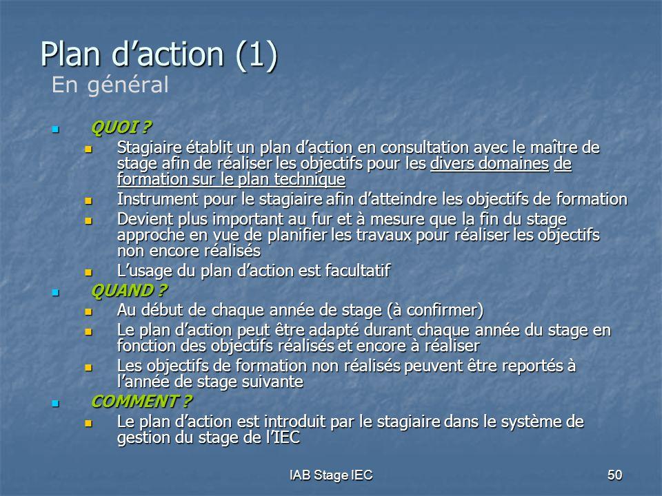 IAB Stage IEC50 Plan d'action (1) En général  QUOI ?  Stagiaire établit un plan d'action en consultation avec le maître de stage afin de réaliser le