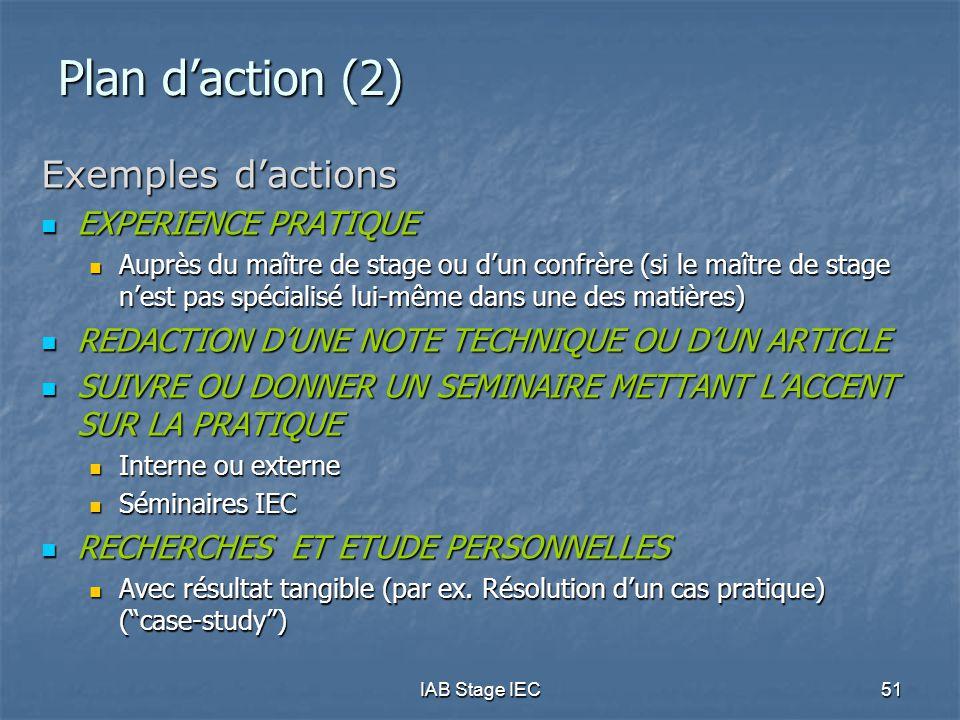 IAB Stage IEC51 Plan d'action (2) Exemples d'actions  EXPERIENCE PRATIQUE  Auprès du maître de stage ou d'un confrère (si le maître de stage n'est p