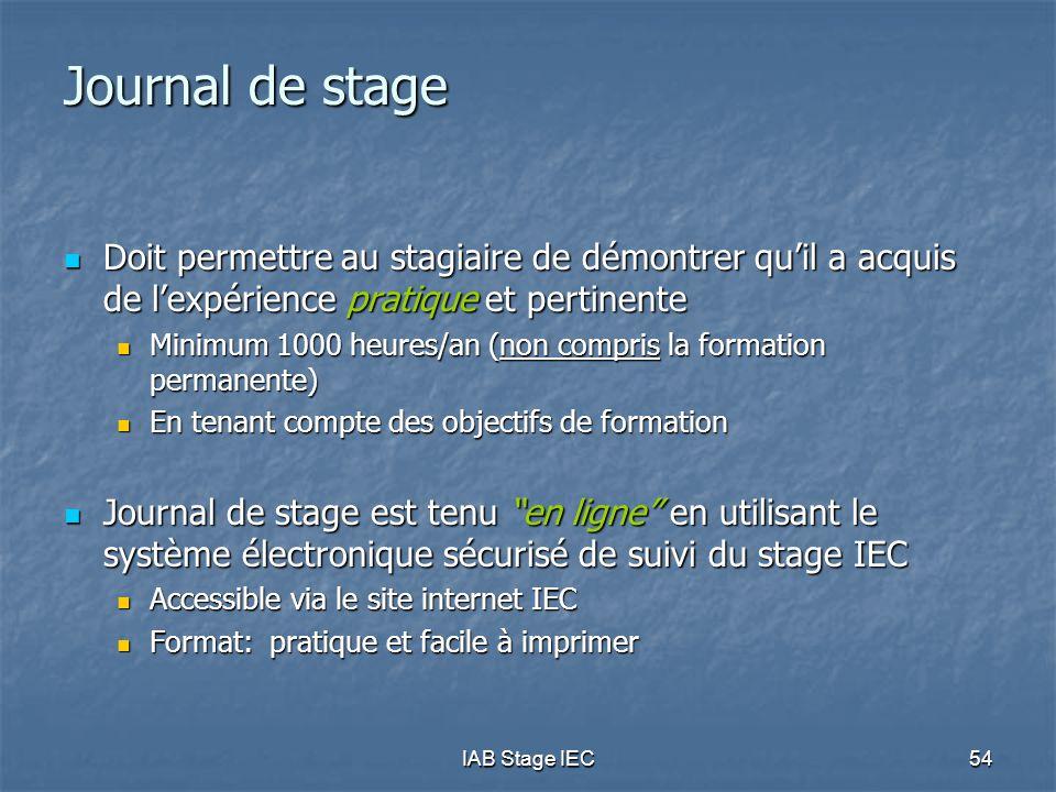 IAB Stage IEC54 Journal de stage  Doit permettre au stagiaire de démontrer qu'il a acquis de l'expérience pratique et pertinente  Minimum 1000 heure