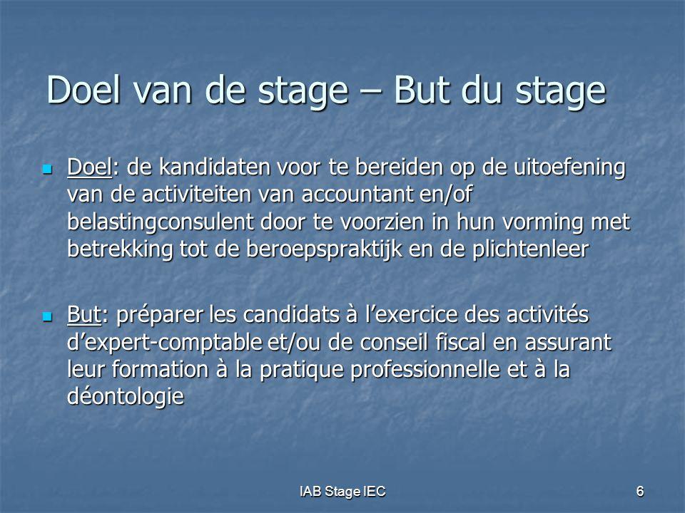 IAB Stage IEC6 Doel van de stage – But du stage  Doel: de kandidaten voor te bereiden op de uitoefening van de activiteiten van accountant en/of bela