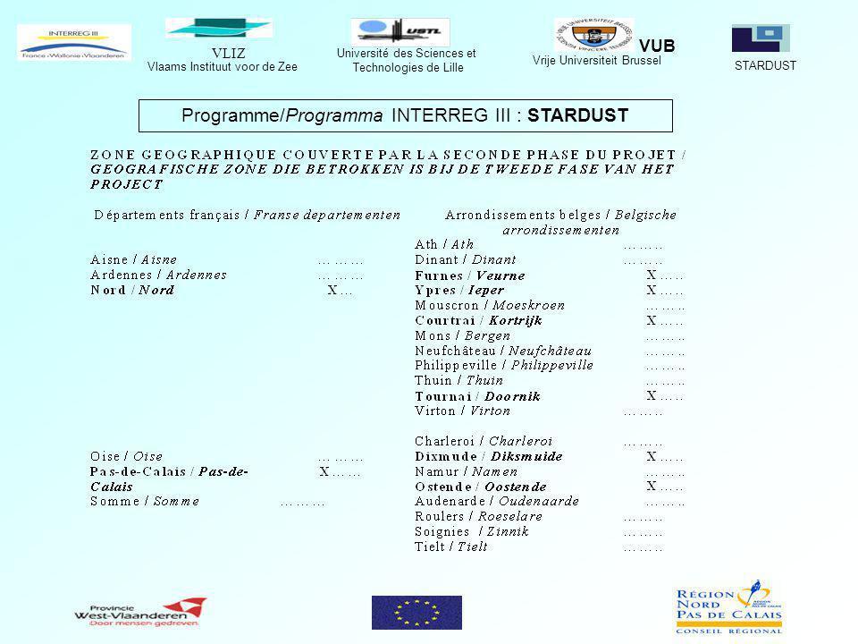 VLIZ Vlaams Instituut voor de Zee STARDUST Université des Sciences et Technologies de Lille Vrije Universiteit Brussel VUB Programme/Programma INTERREG III : STARDUST