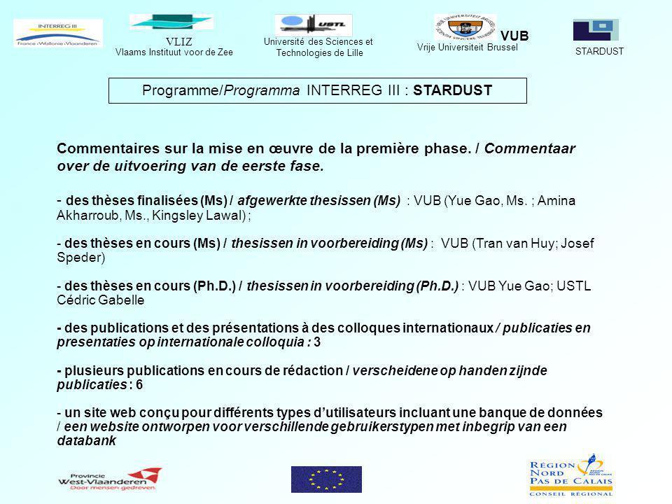VLIZ Vlaams Instituut voor de Zee STARDUST Université des Sciences et Technologies de Lille Vrije Universiteit Brussel VUB Programme/Programma INTERREG III : STARDUST Commentaires sur la mise en œuvre de la première phase.