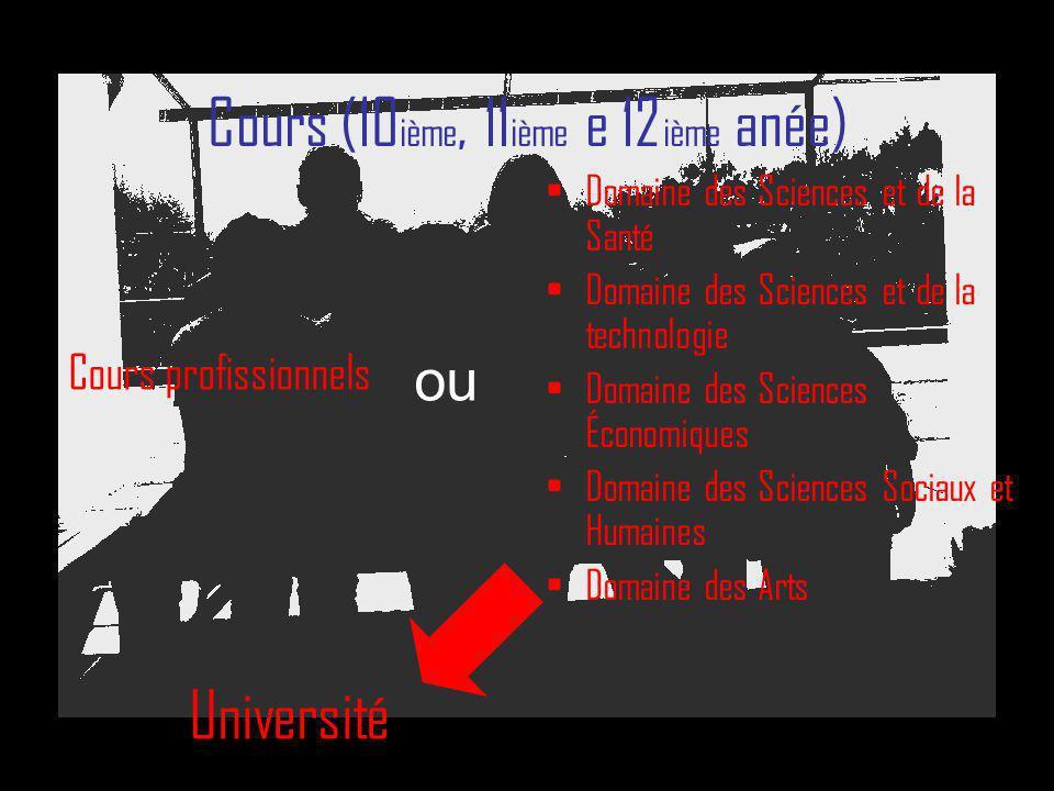 Cours (10 ième, 11 ième e 12 ième anée) Domaine des Sciences et de la Santé Domaine des Sciences et de la technologie Domaine des Sciences Économiques
