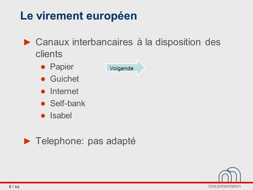 Une présentation 7 / xx Le virement européen ► janvier 2008 dans tous les pays SEPA Terug
