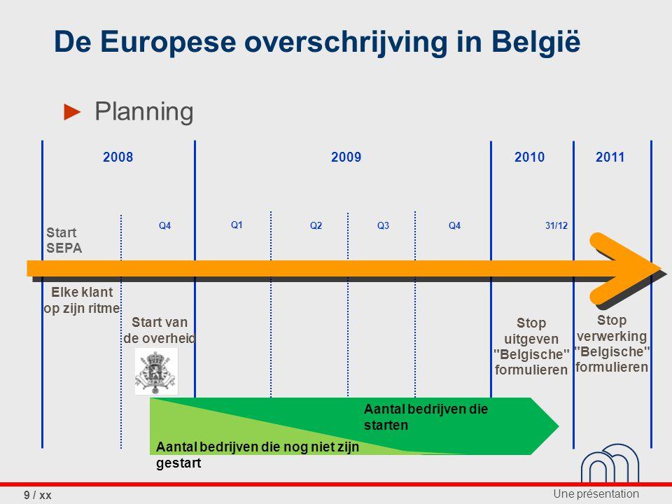 Une présentation 10 / xx La domiciliation européenne ► Planning