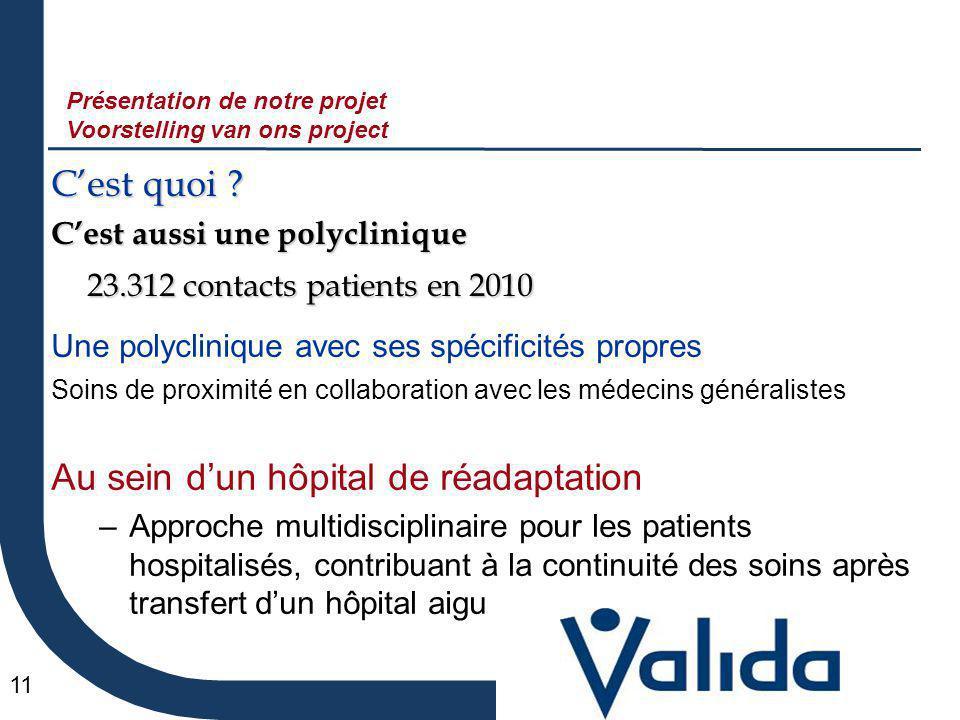 11 C'est quoi ? C'est aussi une polyclinique 23.312 contacts patients en 2010 Une polyclinique avec ses spécificités propres Soins de proximité en col