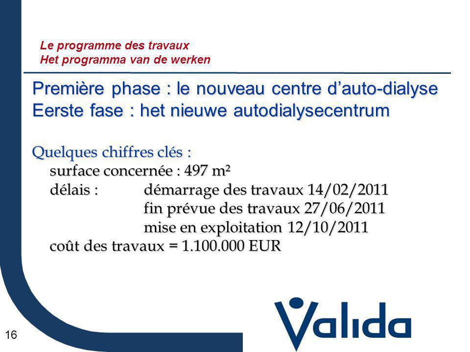 16 Première phase : le nouveau centre d'auto-dialyse Eerste fase : het nieuwe autodialysecentrum Quelques chiffres clés : surface concernée : 497 m² d