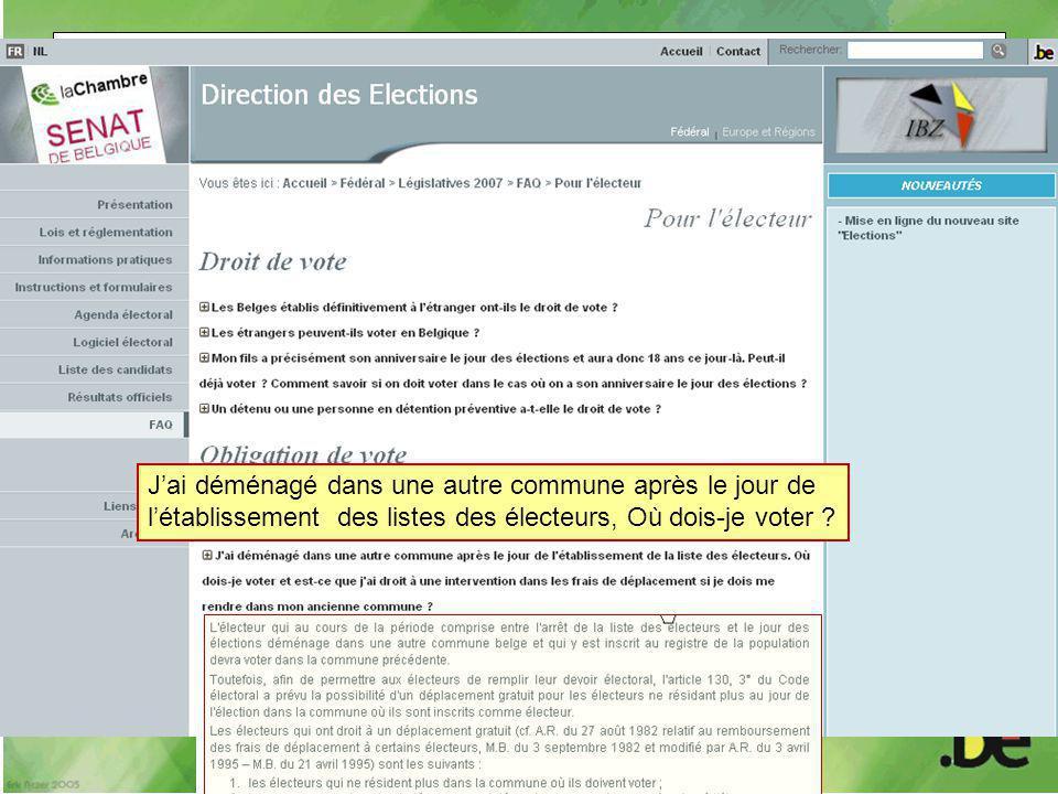 J'ai déménagé dans une autre commune après le jour de l'établissement des listes des électeurs, Où dois-je voter